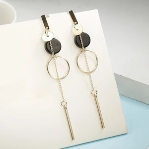 Jewelry - Round Circle Faux Stone Long Drop Earrings